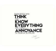 think they know everything - isaac asimov Art Print