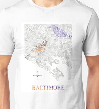 Baltimore City oriole/raven Neighborhood Map Unisex T-Shirt