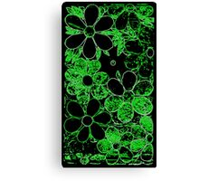 Neon Green Garden of Flowers, Mosaic Canvas Print