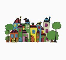 Stadt mit Haus und Baum Kids Tee