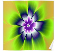 Blue and Violet Daisy Flower Poster