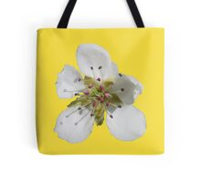 a peach blossom on buttercup background Tote Bag