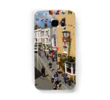 Looking Down at Life on the Street at Tenby, Wales Samsung Galaxy Case/Skin