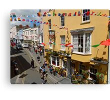 Looking Down at Life on the Street at Tenby, Wales Canvas Print