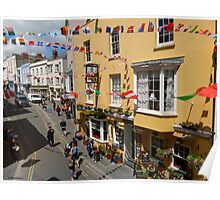 Looking Down at Life on the Street at Tenby, Wales Poster