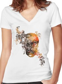 skull crystallisation Women's Fitted V-Neck T-Shirt