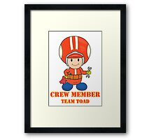 Team Toad Crewmember Framed Print