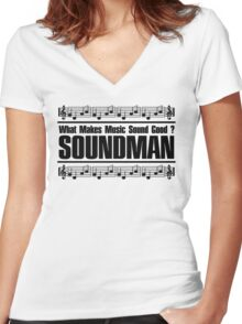 Good Soundman Black Women's Fitted V-Neck T-Shirt