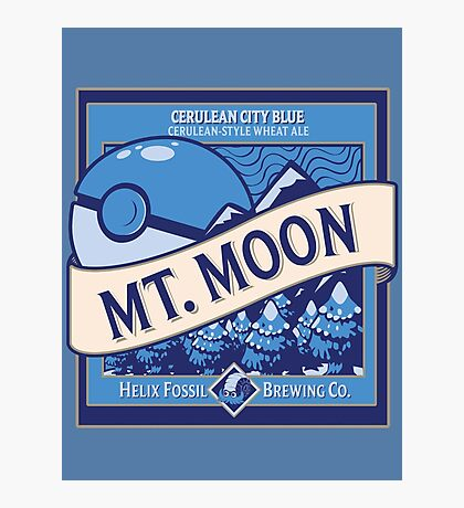 Mt. Moon Pokemon Beer Label Photographic Print