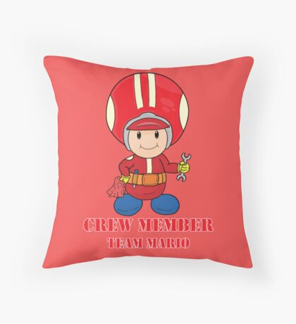 Team Mario Crewmember Throw Pillow
