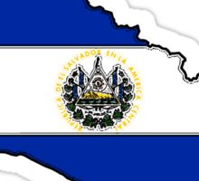El Salvador Map With Salvadoran Flag Sticker