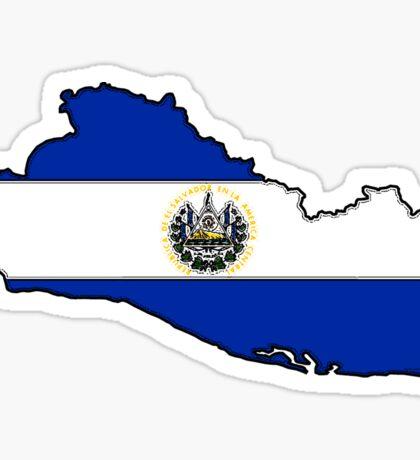 El Salvador Map With Salvadoran Flag Sticker