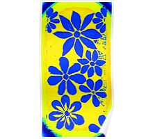 Burst of Blue / Yellow Flowers, Mosaic Poster