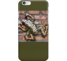 Climbing Mosaic Frog on Brick Facade iPhone Case/Skin