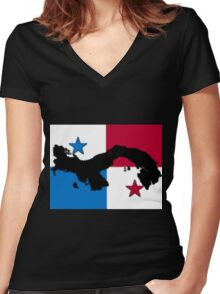 Panama Map With Panamanian Flag Women's Fitted V-Neck T-Shirt