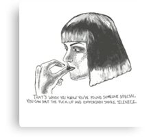 Mia Wallace of Pulp Fiction quote tee shirt Canvas Print