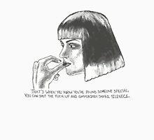Mia Wallace of Pulp Fiction quote tee shirt Men's Baseball ¾ T-Shirt