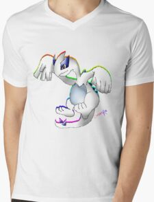 Lugia Print Mens V-Neck T-Shirt