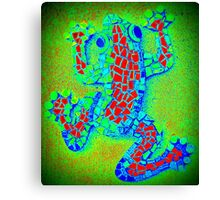 Psychedelic Green Frog, Mosaic Canvas Print