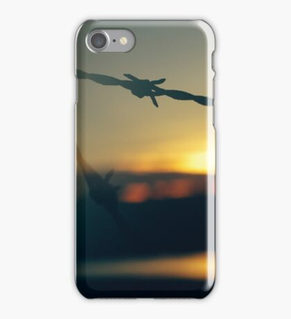Barb Wire at Dawn: Lens Interference 7 iPhone Case/Skin