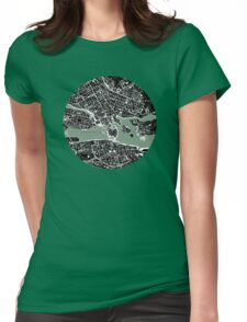 Stockholm city map engraving Womens Fitted T-Shirt