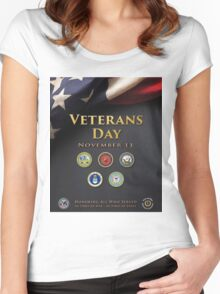 Veterans Day Armed Forces Poster Women's Fitted Scoop T-Shirt