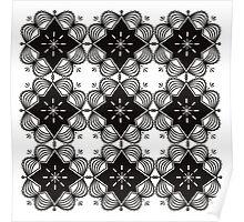 Black and White Mandala Artwork Original { Luxury Art Collection } Poster