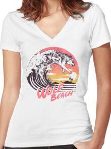Wolf Beach Women's Fitted V-Neck T-Shirt
