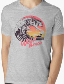 Wolf Beach Mens V-Neck T-Shirt