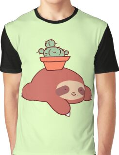 Sloth and Cactus Graphic T-Shirt