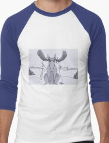 Angry Moose Stuck In A Clothesline Men's Baseball ¾ T-Shirt