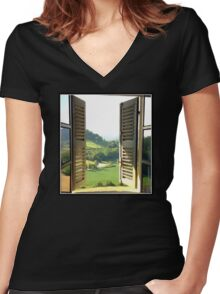 Italian Window Landscape Photography  Women's Fitted V-Neck T-Shirt