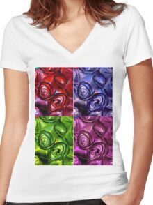 Abstract Rose Collage Women's Fitted V-Neck T-Shirt