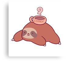 Sloth and Coffee Canvas Print