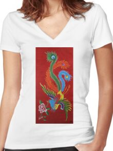 The Red Bird Women's Fitted V-Neck T-Shirt