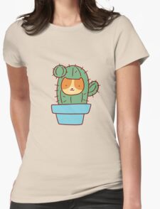 Cat Face Cactus Womens Fitted T-Shirt