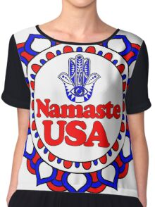 NAMASTE USA HAMSA PEACE YOGA HAND Chiffon Top