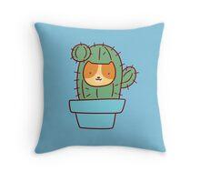 Cat Face Cactus Throw Pillow