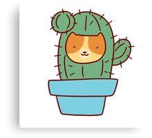Cat Face Cactus Canvas Print