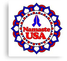 NAMASTE USA PEACE YOGA HAND RED WHITE BLUE PATRIOTIC Canvas Print