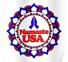 NAMASTE USA PEACE YOGA HAND RED WHITE BLUE PATRIOTIC Poster