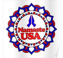 NAMASTE USA PEACE YOGA HAND RED WHITE BLUE PATRIOTIC Poster