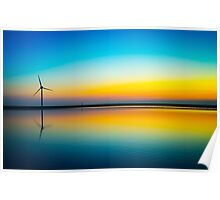 Rainbow Turbine Sunset Poster