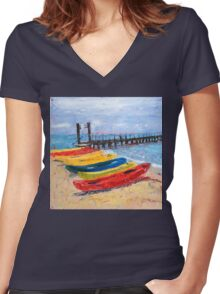 Kayak, anyone? Women's Fitted V-Neck T-Shirt