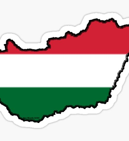 Hungary Map With Hungarian Flag Sticker
