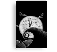 Jack And Sally Blink - 182 Pen Drawing Canvas Print