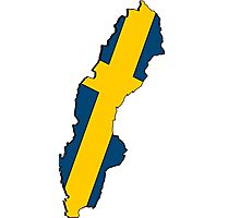 Sweden Map With Swedish Flag Photographic Print