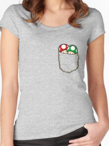 Red Green Mario Mushrooms In Pocket Women's Fitted Scoop T-Shirt