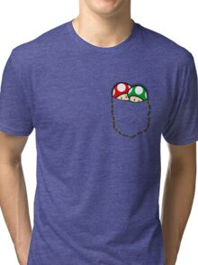 Red Green Mario Mushrooms In Pocket Tri-blend T-Shirt
