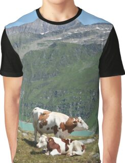 Dairy Cows High Up On A Mountain Graphic T-Shirt